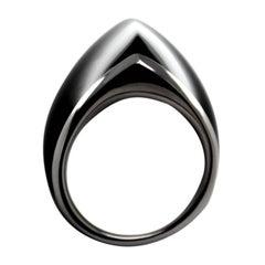 William Cheshire Opaque Black, Silver Libertine Ring