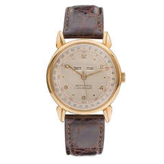 Movado Yellow Gold Calendomatic Triple Calendar Wristwatch with Tear-Drop Lugs