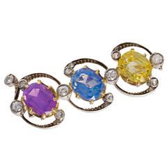 Three Color Sapphire Brooch