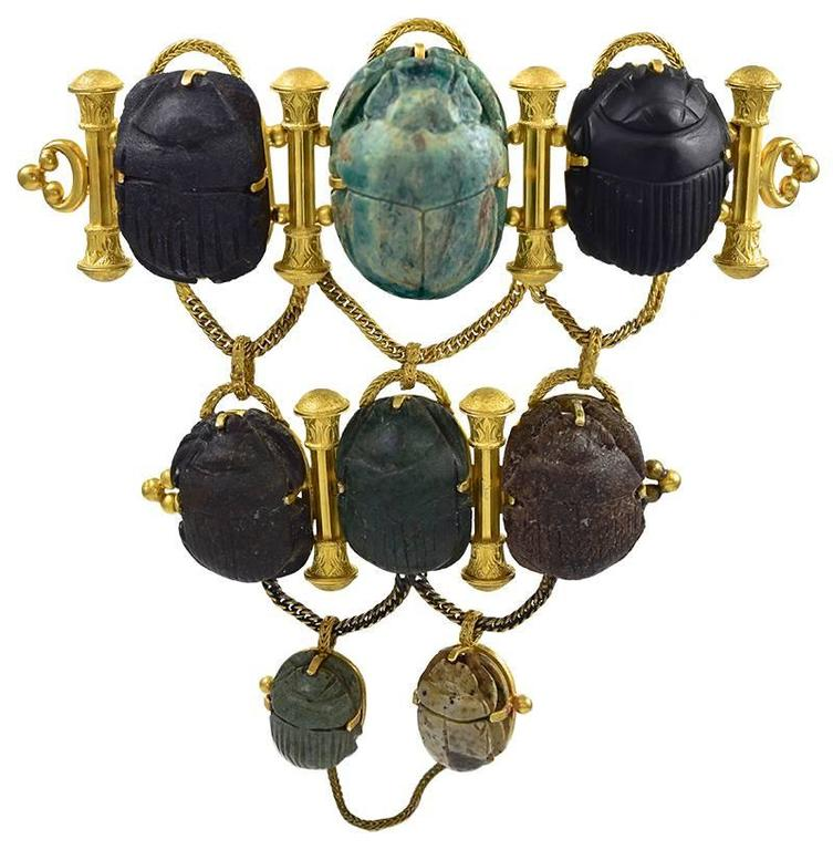 Dramatic Antique Gold and Scarab Mounted Brooch For Sale