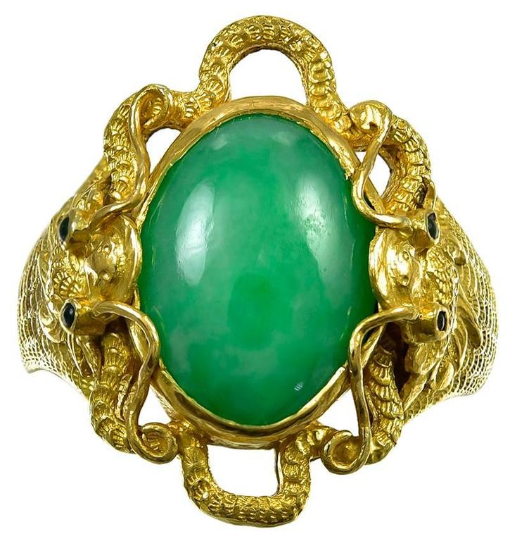 Antique  Chinese Cabochon Jade Pure Gold Dragon Ring 1
