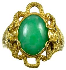Antique  Chinese Cabochon Jade Pure Gold Dragon Ring
