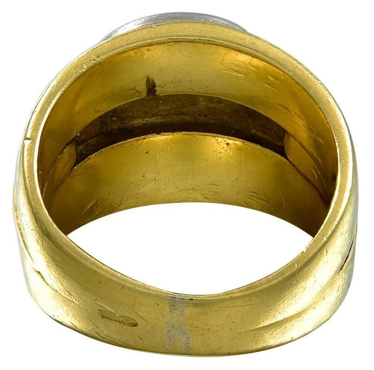 gold and platinum signet ring for sale at 1stdibs