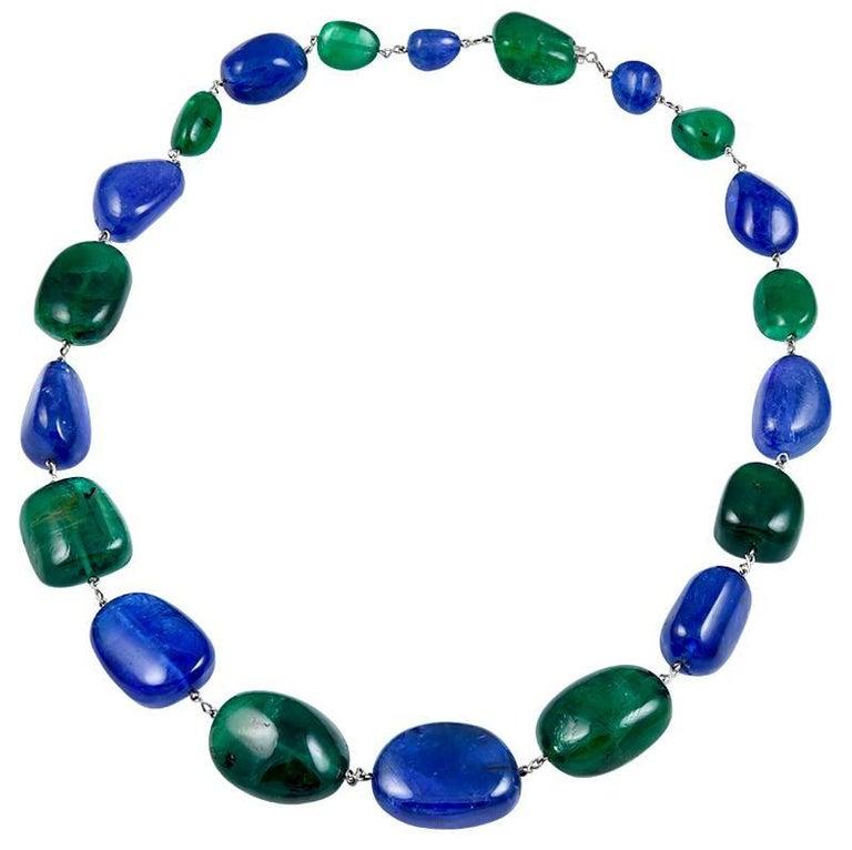 Tanzanite and Emerald 20-Stone Necklace