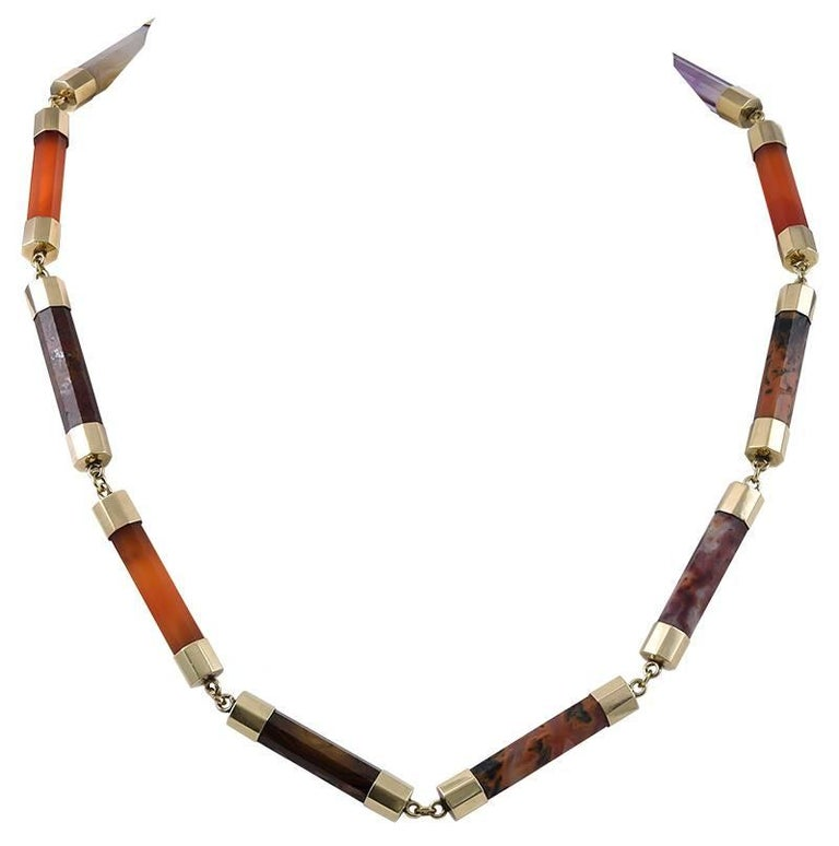 Victorian Scottish Agate and Gold Necklace