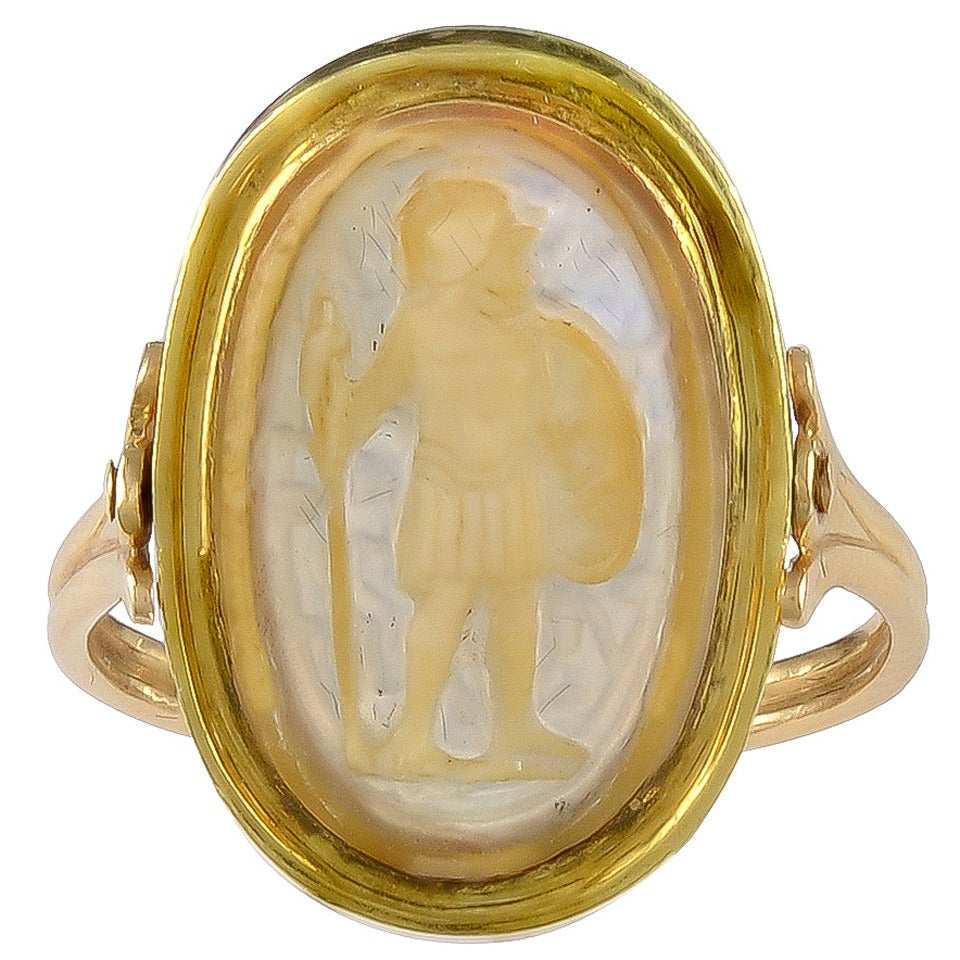 An Ancient Oval Agate Cameo Gold Ring Depicting a Greek Warrior For Sale