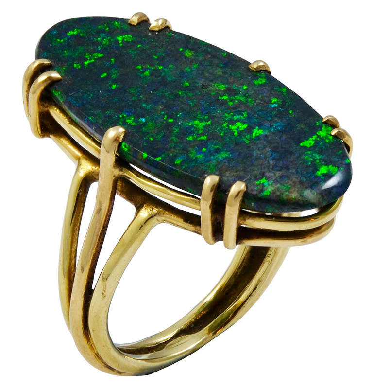 A Long Oval Black Opal Ring image 3