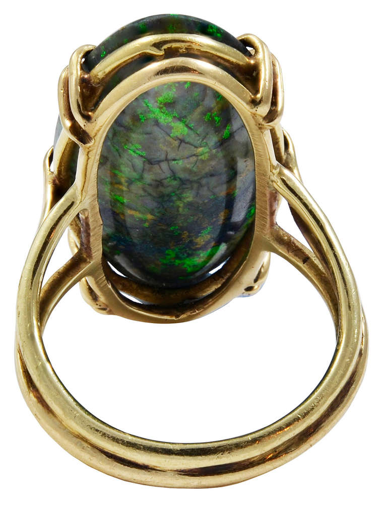A Long Oval Black Opal Ring image 4