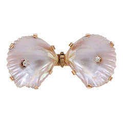 An Antique Diamond Set Shell Brooch in the form of a Butterfly