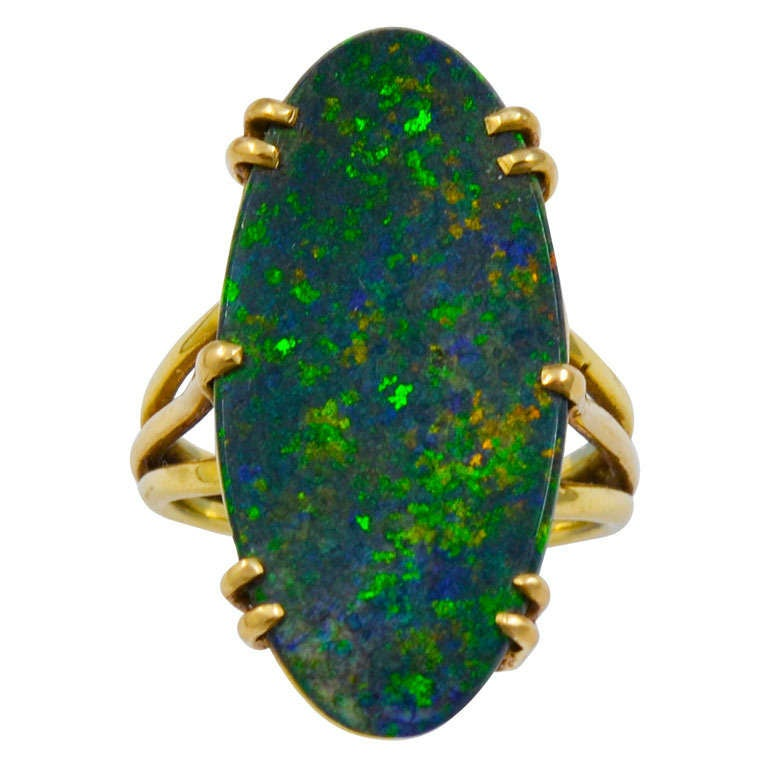 A Long Oval Black Opal Ring For Sale
