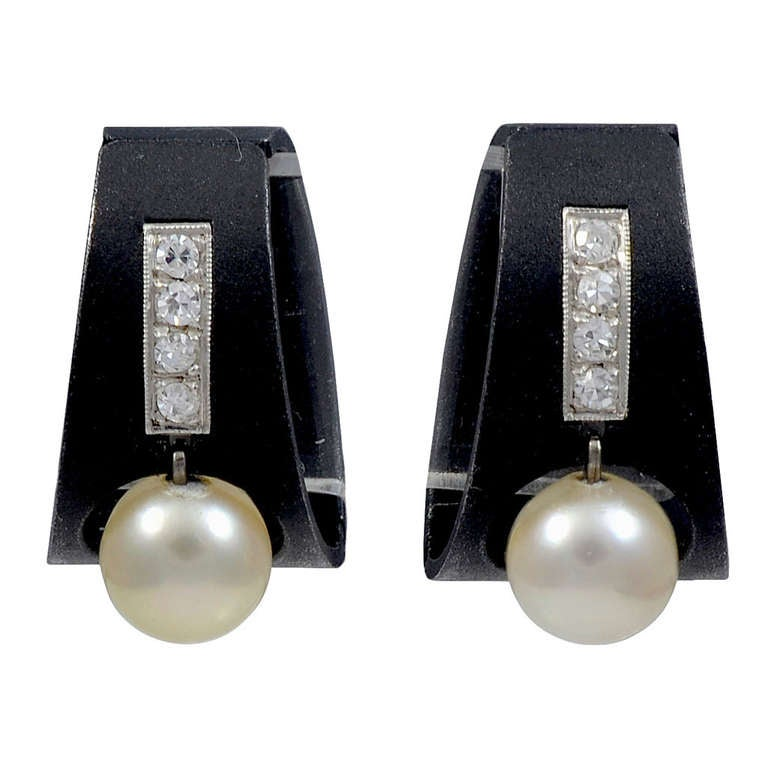 A pair of Blackened Steel, Pearl & Diamond Ear Clips