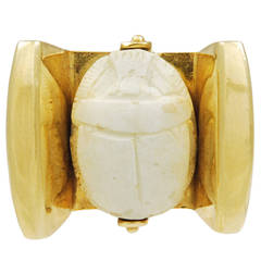 Carved White Steatite Scarab Gold Solitaire Ring