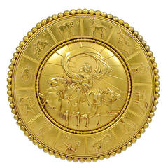 Victorian Wheel of the Twelve Zodiac Signs Gold Brooch
