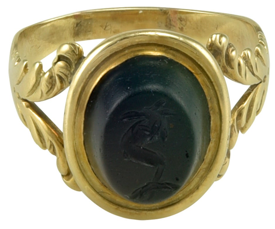 Small 18th century Gold Ring set with a Roman Magical Intaglio 2