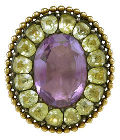 Antique Portuguese Chrysoberyl Amethyst Gold Ring