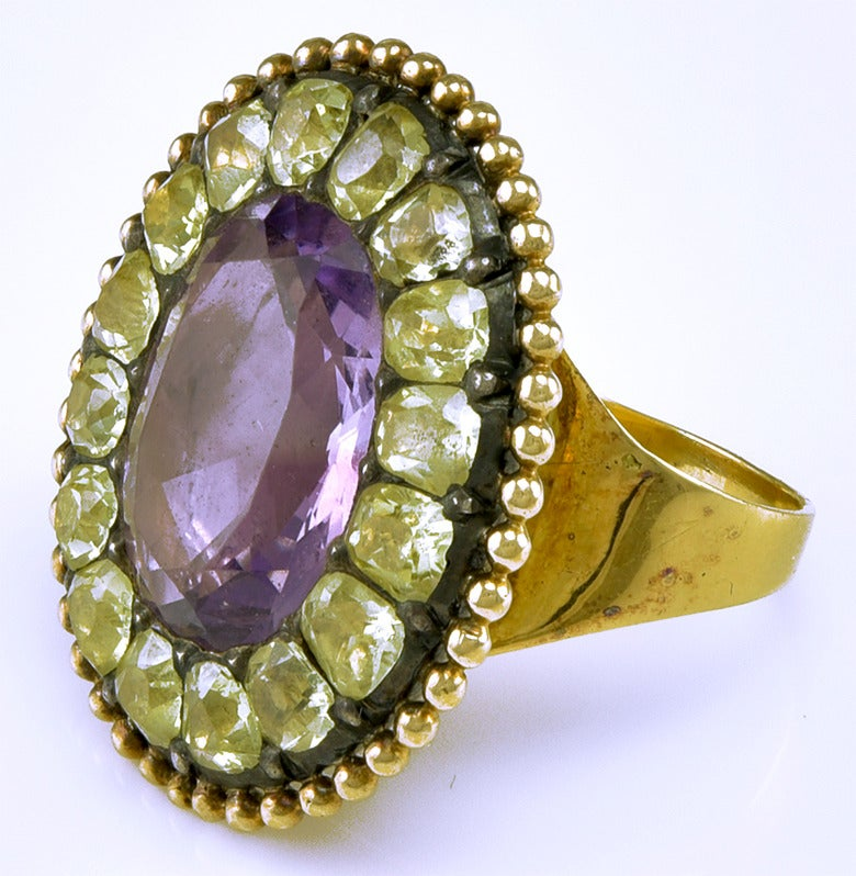 Antique Portuguese Chrysoberyl Amethyst Gold Ring at 1stdibs