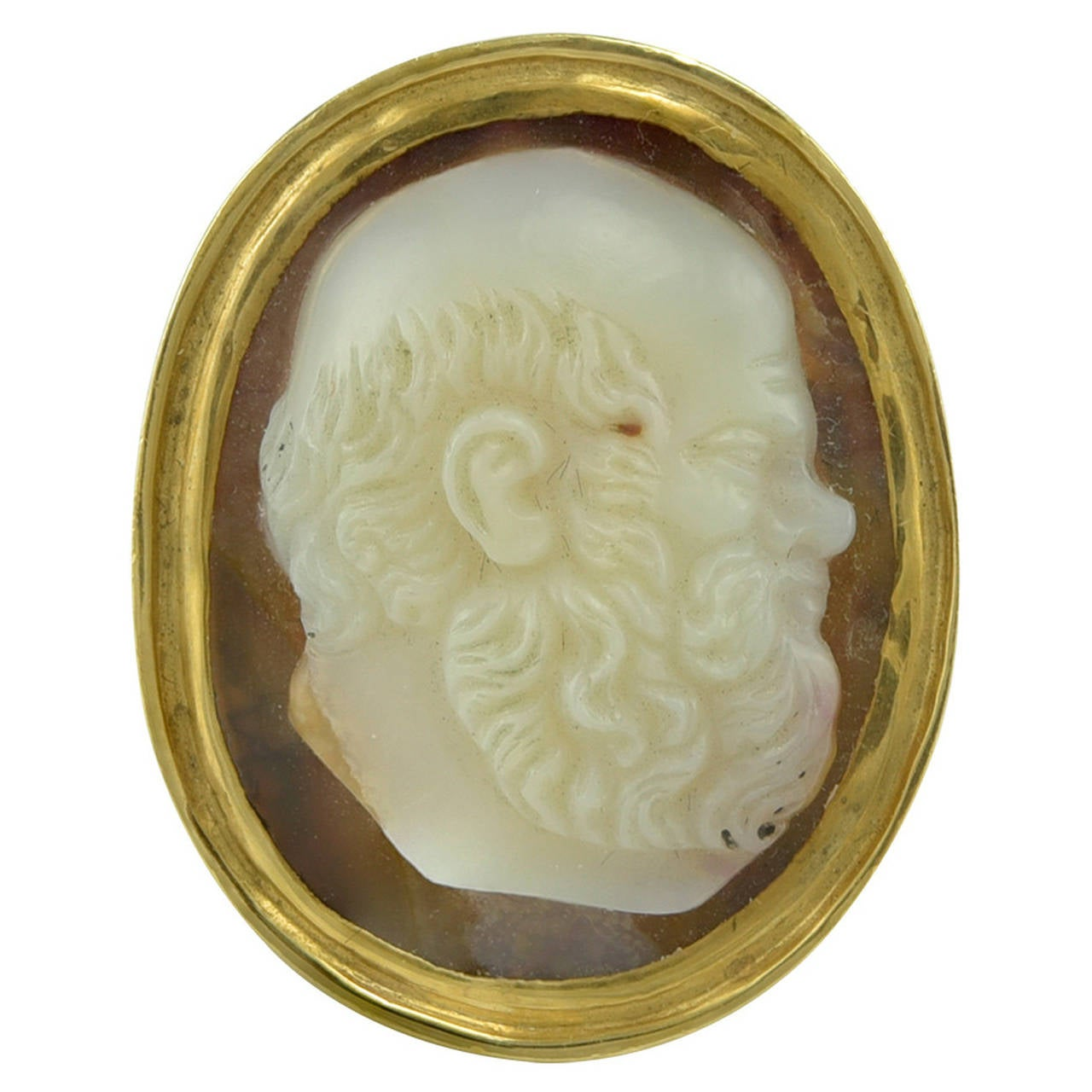 A late Renaissance Agate Cameo of Socrates in a Regency Gold ring mount 1