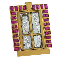 French Ruby Gold Rectangular Window Brooch