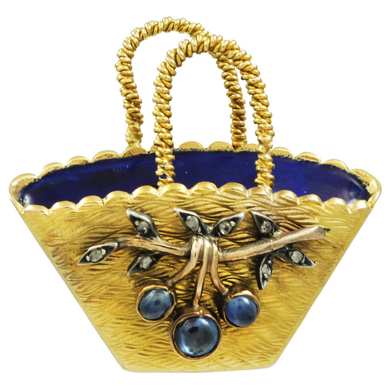 A French 19th century Sapphire, Diamond & Enamel Basket Brooch