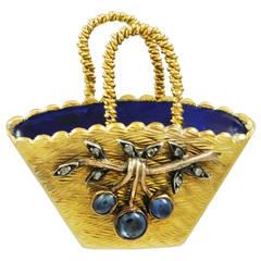 A French 19th century Sapphire, Diamond & Enamel Basket Brooch