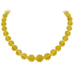 Buccellati A Thirty Seven Stone Carved Citrine Bead Necklace