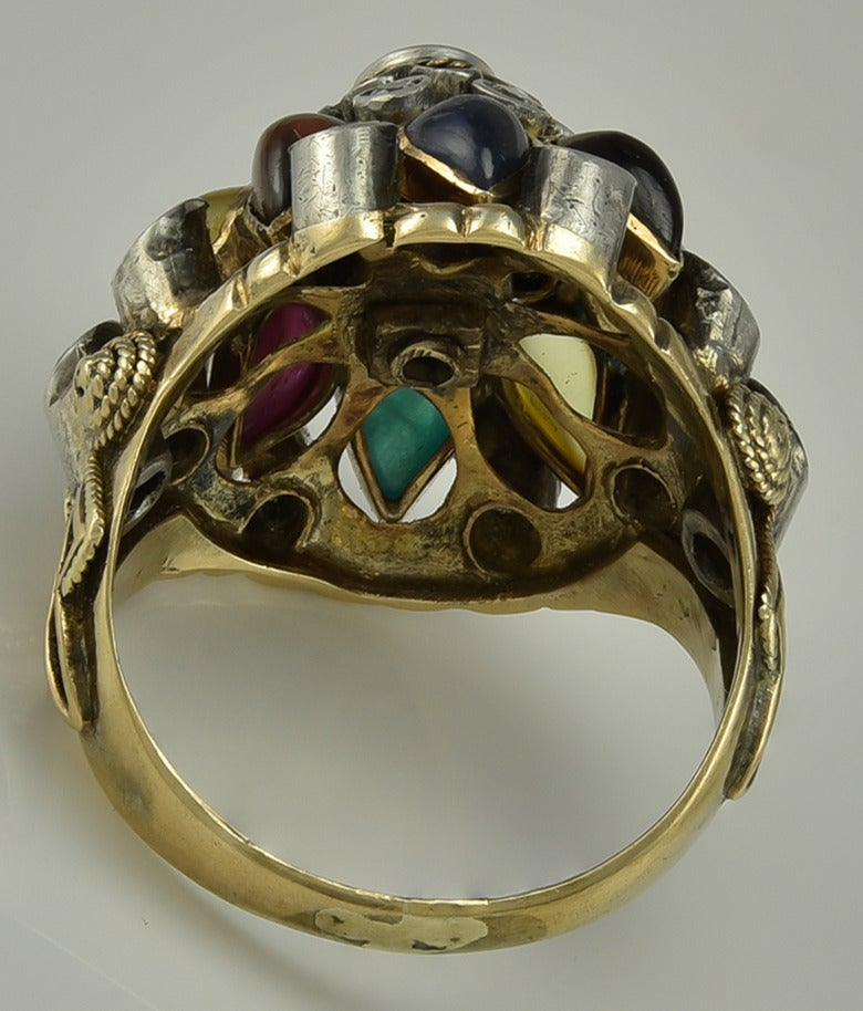 a multi gem set gold thai princess dome ring for sale at