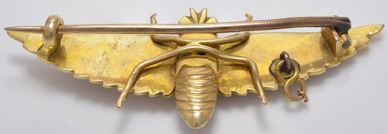 Victorian Three Color Gold Scarab Bee Brooch 2