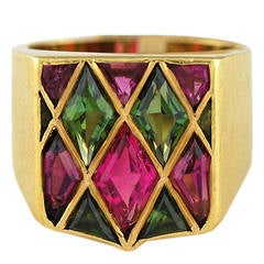 Harlequin Pink Green Tourmaline Gold Ring