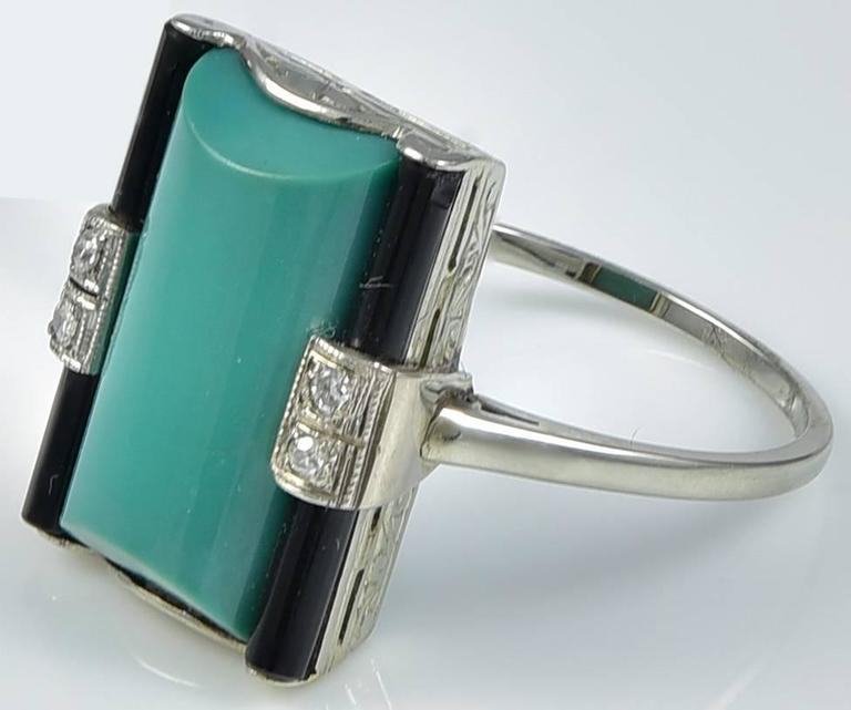 Art Deco Green Turquoise Onyx Diamond Ring 2