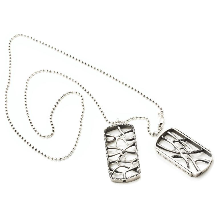 Modern Sterling Silver Web Dog Tag Necklace For Sale