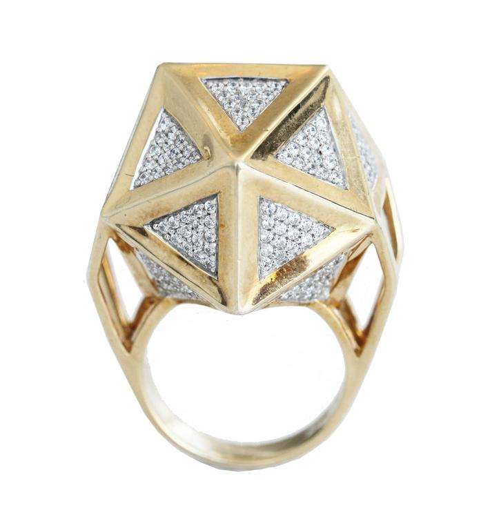 Women's or Men's One of a Kind Large Icoso White Diamonds 18K Gold Ring For Sale