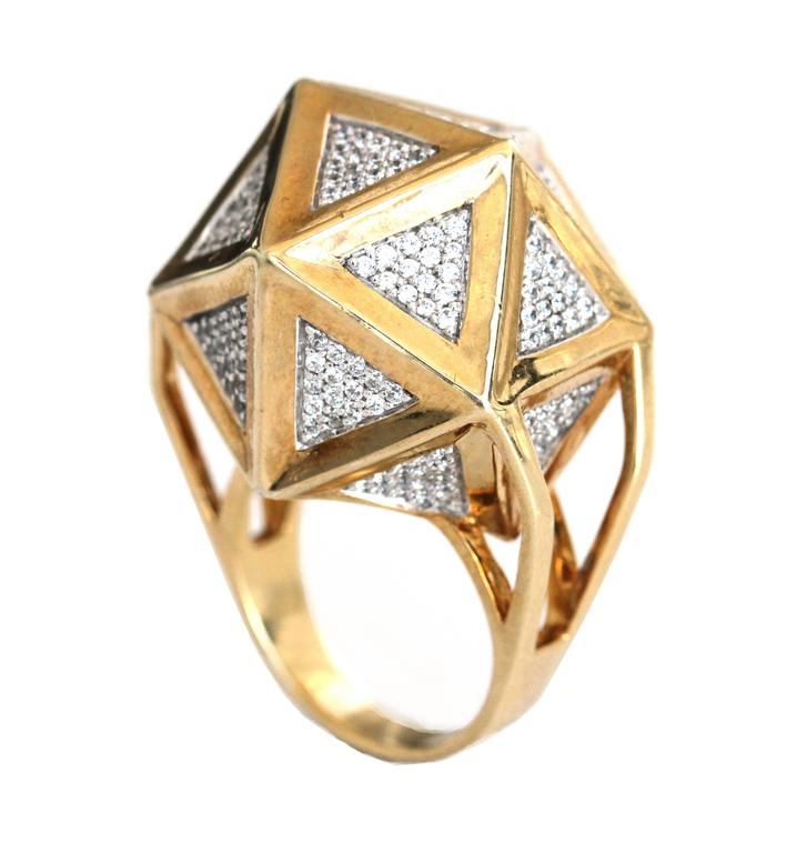 One of a Kind Large Icoso White Diamonds 18K Gold Ring For Sale 1