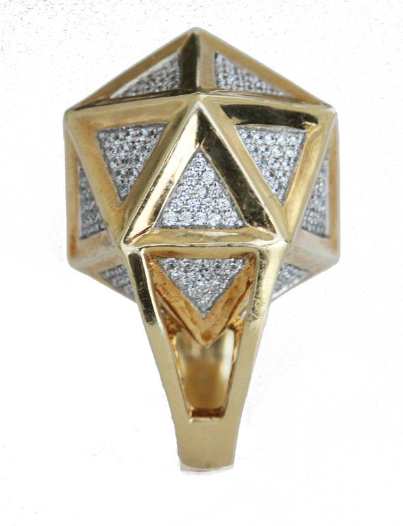 One of a Kind Large Icoso White Diamonds 18K Gold Ring For Sale 2