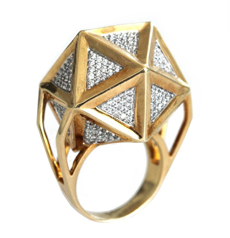 One of a Kind Large Icoso White Diamonds 18K Gold Ring For Sale 3