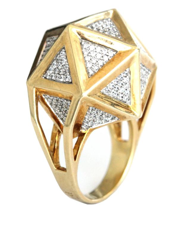 One of a Kind Large Icoso White Diamonds 18K Gold Ring For Sale 4