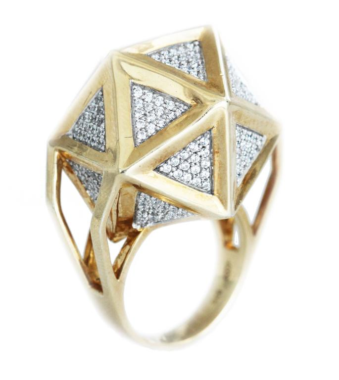 One of a Kind Large Icoso White Diamonds 18K Gold Ring For Sale 5