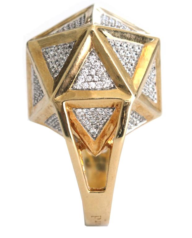 One of a Kind Large Icoso White Diamonds 18K Gold Ring For Sale 6