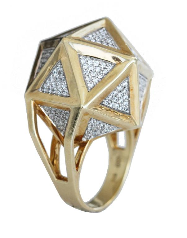 One of a Kind Large Icoso White Diamonds 18K Gold Ring For Sale 7