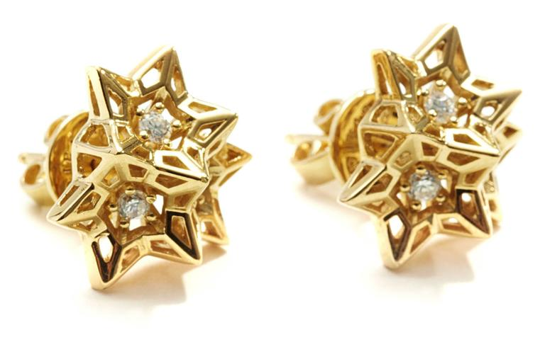 Verahedra collection stud earrings in 18K yellow gold with 6 round white diamonds at 2.2 mm each (0.293 carats).