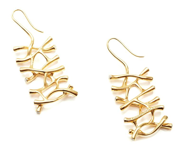 Modern Web Diamond Gold Dangle Earrings For Sale