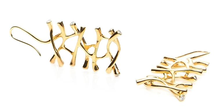 Morphogen collection dangle earrings in 18K gold with 28 round white diamonds at 3.0 mm each.   Morphogen Collection: Composed organic shapes that are morphogenic in nature, abstract, pulled, and stretched into a fluid form.  This piece was