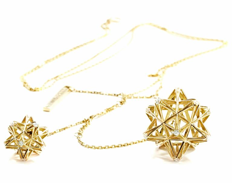 Verahedra series necklace in 18K yellow gold with 22 round white diamonds at  2.5 - 3.0 mm each. 