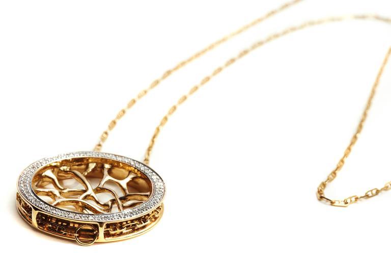 Modern Diamond Gold Web Necklace For Sale