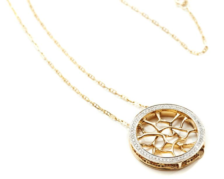 Morphogen series necklace in 18K yellow gold with 63 pavé round white diamonds at 1.1 mm each (0.37 carats).  Morphogen Series: Composed organic shapes that are morphogenic in nature, abstract, pulled, and stretched into a fluid form.  This