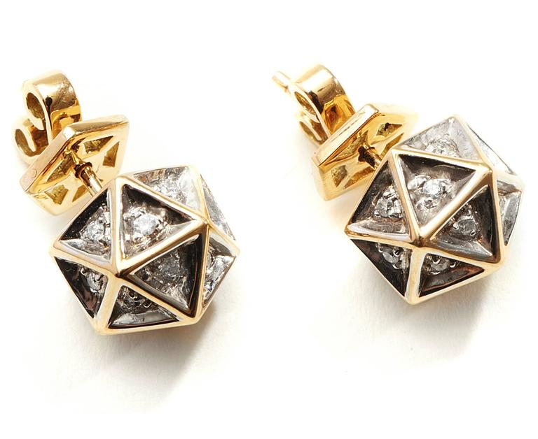Modern Icoso Diamond Gold Stud Earrings For Sale