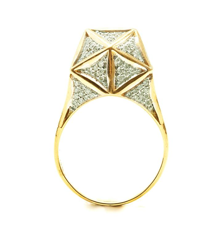 Verahedra collection ring in 18K yellow gold with 144 pavé round white diamonds at 0.95 - 1.1 mm each (0.742 carats).  Verahedra Collection: A series of complex, interlocking geometries reminiscent of Euclidean geometries and ancient architecture