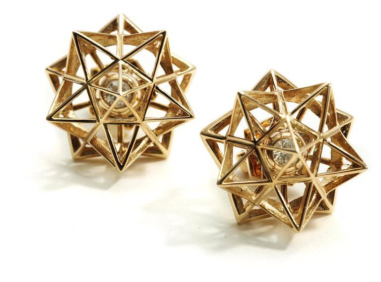 Modern Framework Diamond Gold Stud Earrings For Sale
