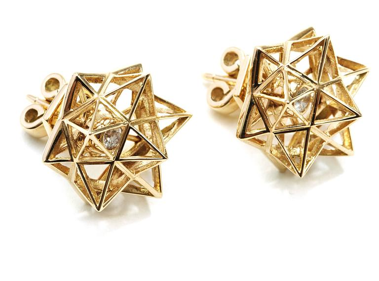 Verahedra collection stud earrings in 18K yellow gold with 2 round white diamonds at 2.5 mm each (0.12 carats).   This piece was designed to evoke personal power.   John Brevard applies his background in architecture and multidisciplinary arts