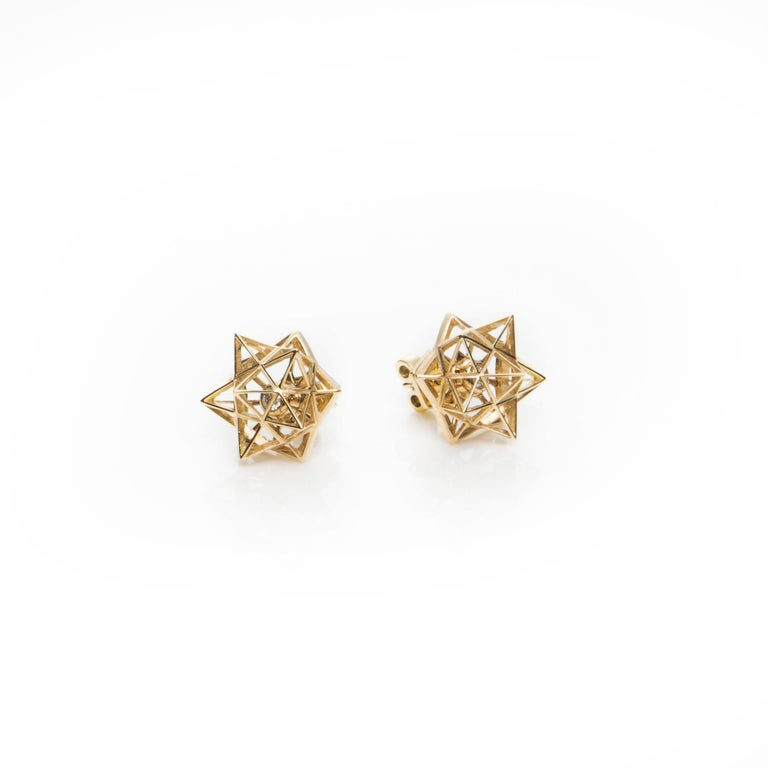 Framework Diamond Gold Stud Earrings In As New Condition For Sale In New York, NY