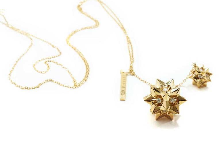 Modern Helix Diamond Gold Pendant For Sale